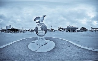 Peace Monument on the roundabout at Kratie, Cambodia
