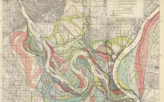Mississippi Meander Maps - Harold Fisk 1944 Plate 22-1