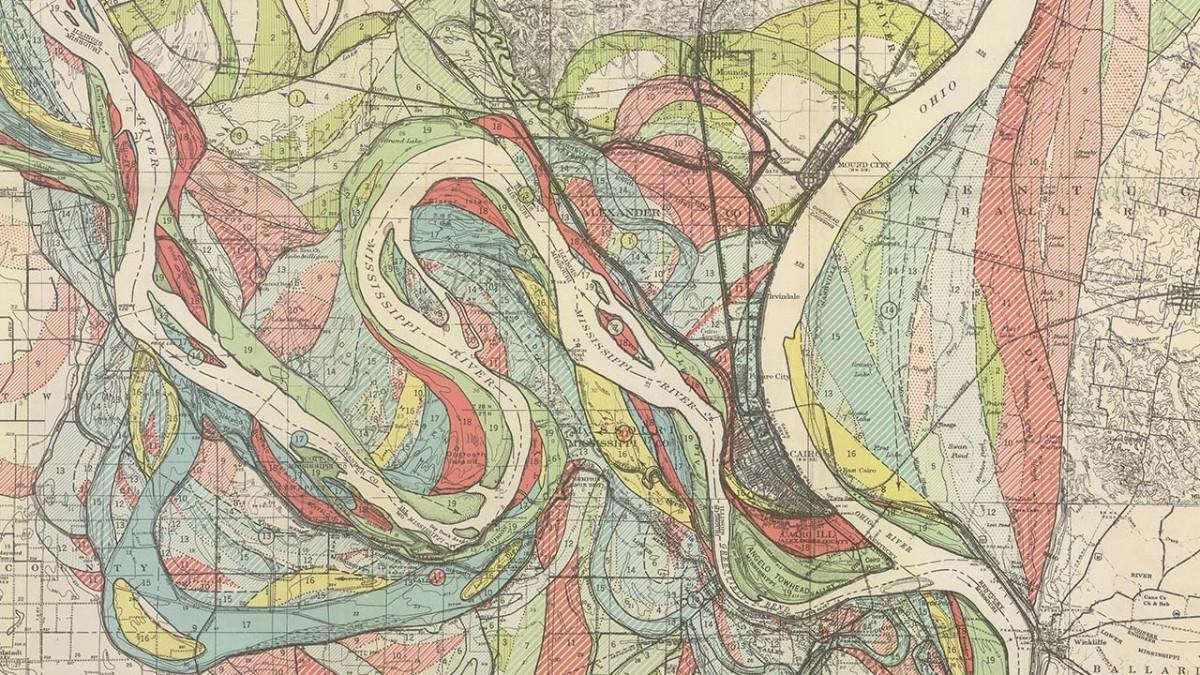 Mississippi Meander Maps - Harold Fisk 1944 Plate 22-1 *Crop*